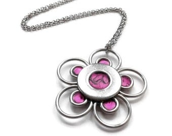 Stainless Steel Jewelry, Silver Flower Necklace, Hot Pink, Resin Jewelry, Gift for Daughter, Customizable Jewelry