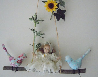 Vintag Doll swing with birds mobile, spring decor, nursery decor, fox hanging mobile