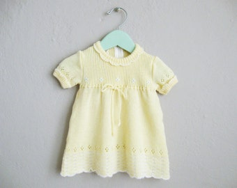 Knit Baby Dress Yellow Girls Dress Eyelet Embroidered Vintage Dress / 3 6 Months