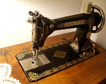 Rare Singer 9W7 Treadle Sewing Machine and Cabinet 1910