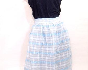 Vintage Apron, Blue Checkered Apron, Retro Kitchen Apron, Vintage Kitchen Apron,