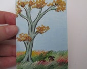 Original ACEO Miniature Painting Bunny Rabbit and Tree by Dandelion's Gallery SFA Picture Art