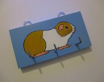 Guinea Pig Key Rack Holder Hand Painted Original Art Hanging Decoration Jewellery Holder