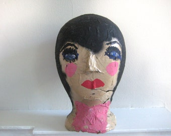 vintage styrofoam mannequin head - lady - hand painted - display - photo prop - art - hat display - art studio - Halloween decor