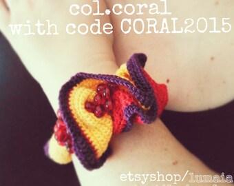 Freeform Crochet Bracelet - Col.Coral / Pulsera