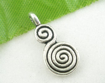 5 Pieces Antique Silver Whirl Charms