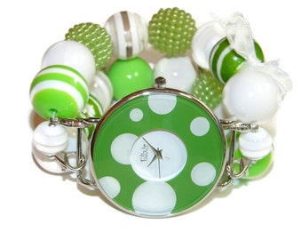Envy Green Chunky Beaded Watch - BeadsnTime - Interchangeable Watch - Apple Watch Band - Green and White Chunky Watch - Unique Watch - Gift