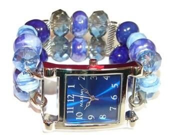 Still Water Blue Chunky Beaded Watch - Interchangeable Watch - BeadsnTime - Beaded Apple Watch Band - Unique Watch - Bracelet Watch - Gift