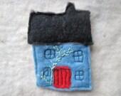 felt brooch, fiber art brooch, house brooch
