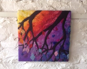 Felt Wall art, abstract tree, original art on canvas, felt painting