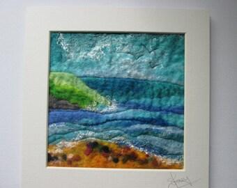 felt picture, felt wall art, seascape, ready to frame