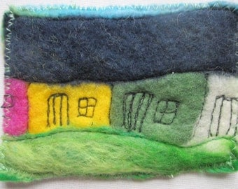 textile art, felt aceo, artists cards, quirky houses