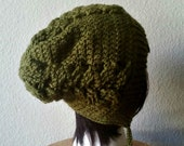 CLEARANCE Crochet Slouchy Olive Green Beanie - Cabled Beanie - Womens Slouchy Hat - Hipster Hat - Winter Beanie - Hood Beanie