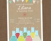 Science birthday invitation printable Girl science invitation Science party invite Calling all scientists Fifth birthday