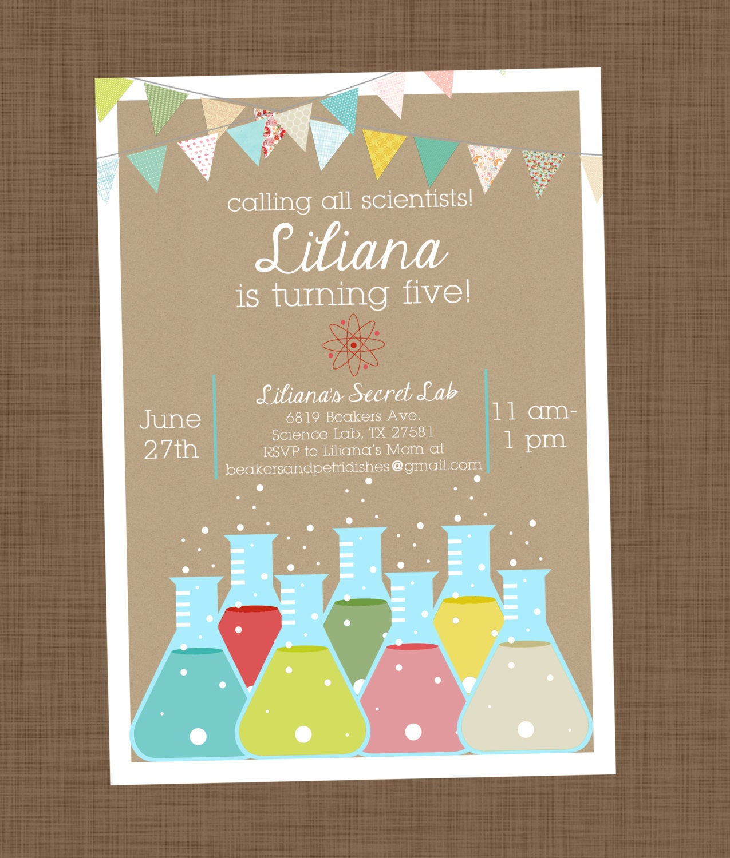 Science birthday invitation printable Girl science invitation
