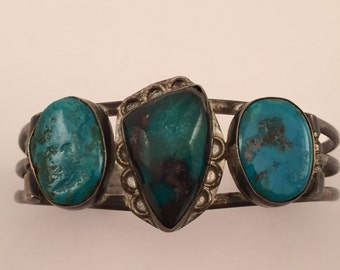 MVintage Navajo Three Turquoise Stone Coin to Sterling Cuff