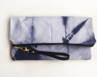 002//indigo//XL hand-dyed canvas clutch with genuine leather wrist strap