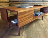 QUICK SHIP-Fat Boy mid century modern coffee table with storage, featuring sapele mahogany & tapered wood legs.