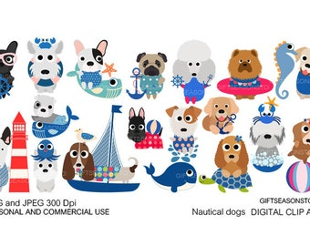 Nautical dogs digital clip art for Personal and Commercial use - INSTANT DOWNLOAD