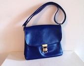 RESERVED Vintage 1960s Blue Patent Mod Purse Shoulder Bag