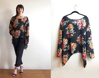 Vintage WRII Sheer Black Floral Cropped Blouse Cover-Up Large