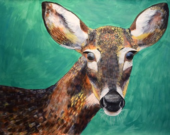 Large scale acrylic on paper painting of a Deer by Natalie Jo Wright