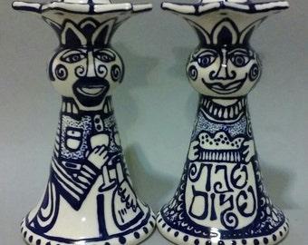 Blue and White Shabbat Peoplesticks