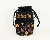 Monogrammed DRAWSTRING Bingo Bag Tote/ Craft Bag