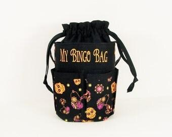 Monogrammed DRAWSTRING Bingo Bag Tote/ Craft Bag