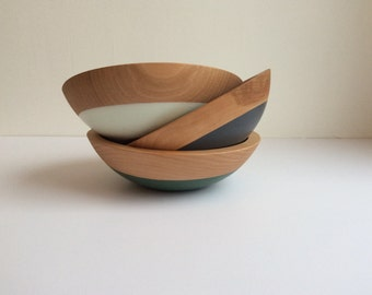 "Earth Tone 7"" Beech Wood Bowls, by Willful, salad bowls, rubber dipped"