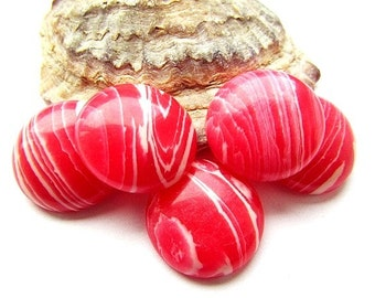 White Pink Cabochon 20 mm Synthetic Rhodochrosite Cabochon Jewelry Supplies (2)