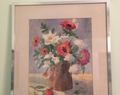 Reserved for Betsy FLORAL WATERCOLOR VINTAGE Framed and Signed M. Gray Oranges and Whites, Shabby Chic, Mid Century, Posies, Daisies at Agel