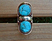 Turquoise rings-  precious stone ring. Cocktail rings- Saddle Rings. Silver Rings.Tibet Jewelry.Nepalese Jewelry.Tibet Jewelry.Buddhist