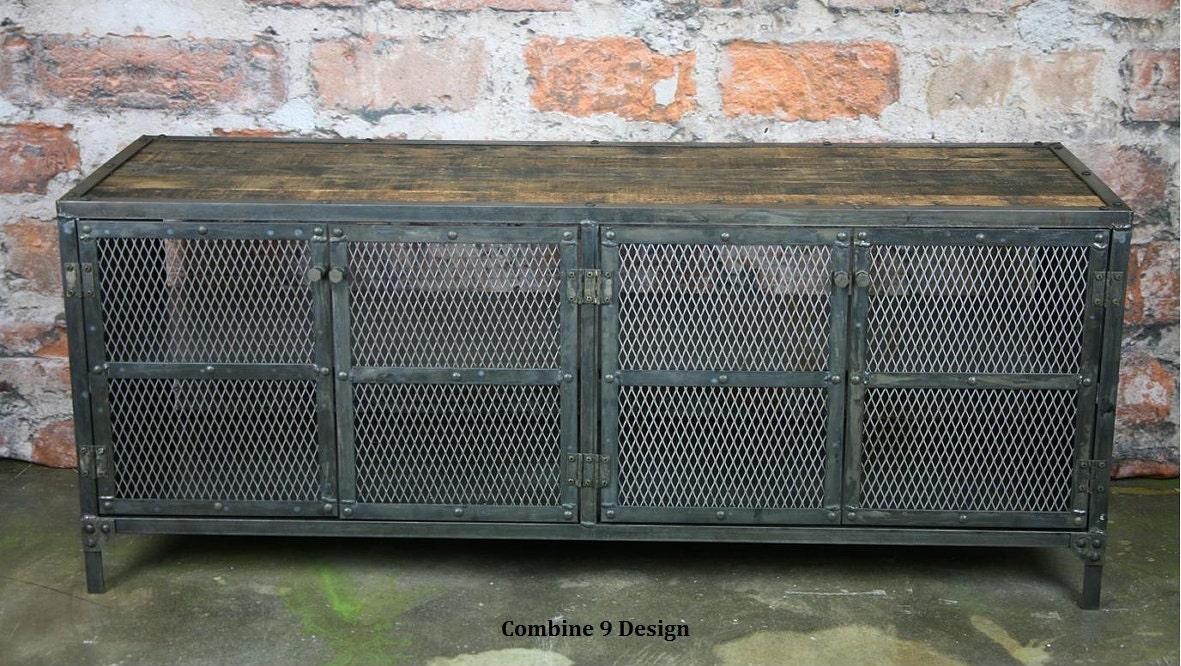 Media console buffet credenza vintage industrial for Sideboard industrial design