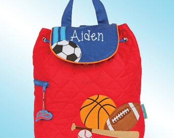 Quilted Backpack - Personalized and Embroidered - SPORTS