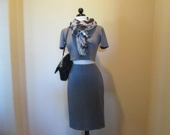 Gray Knit Pencil Skirt Set