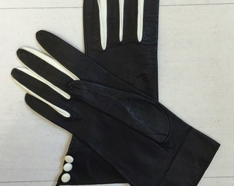 1960s Deadstock Black and White Leather Gloves Size 6