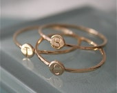 Personalized Ring 14k SOLID Yellow Gold Letter Tiny Dot Ring Hammered Band Circle Disc Stamped Initial Monogram Stacking Ring Eco Recycled