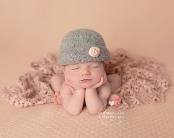 Vintage Cloche'  Felted Newborn Hat ~Hand Knit and Felted Cloche'   Newborn Baby Photo Prop