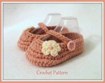 Crochet PATTERN Baby Girl's Booties Sizes 0 - 9 Months Baby Booties Baby Girl Pattern Baby Girl Bootie Pattern Crochet Pattern