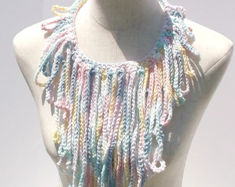 Blue and Pink mix fringe necklace , Handmade fringe accessory , Gift for her , Gift under 20 , Ready To Ship