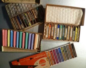 Vintage Chalk Boxes - Display - Artwork - Color Sticks