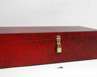Wooden Gift and Keepsake Box with Padlock / Large Storage Box / Red Box / Padlock Box / 16.53 x 6.70 x 4.52 inch
