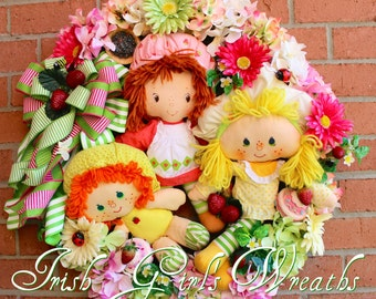 MADE TO ORDER- World of Strawberry Shortcake Wreath, Nursery Wreath, Girl Wreath, Lemon Meringue Rag Doll, Apple Dumpling Rag Doll, vintage