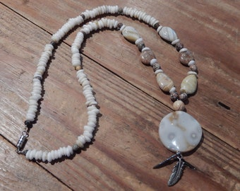 Beaded Stone Pendant Necklace with Silver Feather Charms - Hippie, Native American, Boho - Natural, Earthy Jewelry - Feathers, White, Tan