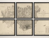 Old San Francisco Map Art Print 1857 Antique Map Archival Reproduction - Set of 6 Prints - Horizontal or Vertical