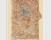 Old Mount Rainier National Park Map Art Print 1928 Antique Map Archival Reproduction - Historic USGS Topographic Map