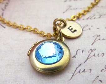 Personalized March Birthstone Swarovski Locket Necklace, Hand Stamped Initial Swarovski Aquamarine Crystal Cab Tiny Gold Locket Necklace