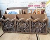 Desk Organizer Vintage Mid Century Office Faux Wood Lerner Hard Plastic Retro Kitsch