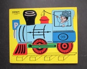 Playskool Train Puzzle Vintage Preschool Puzzle 275-34 Locomotive